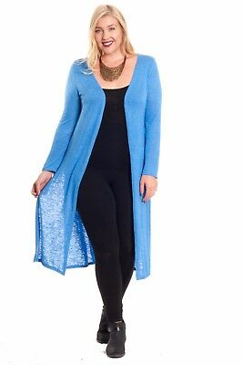 Hot Ginger Women's Plus Size Long Sleeve Open Duster Cardigan with Side Slit
