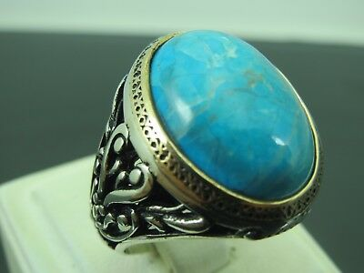 Turkish Handmade Jewelry 925 Sterling Silver Turquoise Stone Men's Ring Sz 11