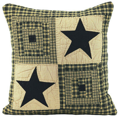 """VINTAGE STAR BLACK Country Primitive Quilted 16"""" Throw Pillow Cover SHIPS FREE"""