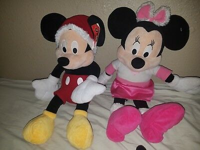 Disney Mickey Mouse and Minnie Christmas Holiday Plush Stuffed Animals Large