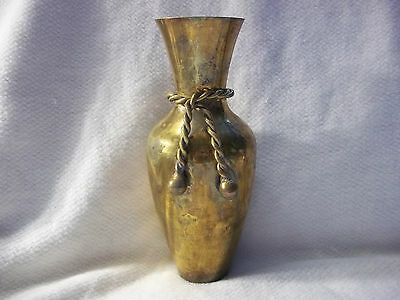 Solid Brass 7 Inch Vase Rope Decor. Design Flower Floral Made In India Used