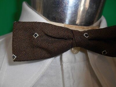 Vintage 40s 50's Green Brown Patterned Clip On Bow Tie Steampunk Prom Formal