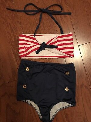 Girls 1950s Vintage  Swimsuit Sz 8/9 brand new with out tags Lilly Bow Peep
