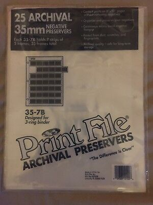 25 Archival Print File 35mm Negative Preservers Pages/Storage Sheets 35-7B