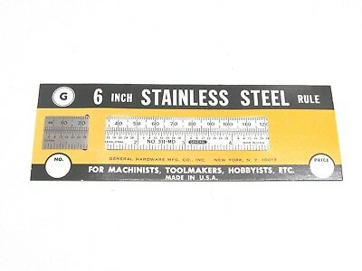 """NEW! GENERAL TOOLS 6"""" x 3/4"""" FLEXIBLE STEEL RULE, mm-INCH COMPARISON, No. 311-MD"""