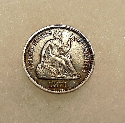 1871 Liberty Seated Half Dime - Sharp Looking Coin - FREE SHIPPING
