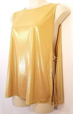 Body Wrappers Womens Dance Tank Pullover Side-Ties Gold Metallic Size S-L