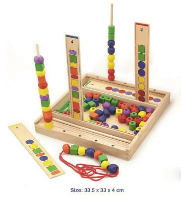 NEW VIGA Toys Wooden Bead Sequence - Counting, Maths, Shapes, Colours, Threading