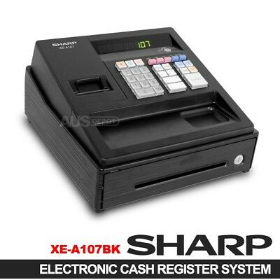 New SHARP XE-A107 Black Electronic Cash Register supercede XE-A102 (1 Year Wrty)