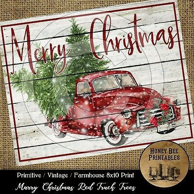 Primitive Farmhouse Vintage PRINT ONLY 8x10 Merry Christmas Red Truck Shiplap