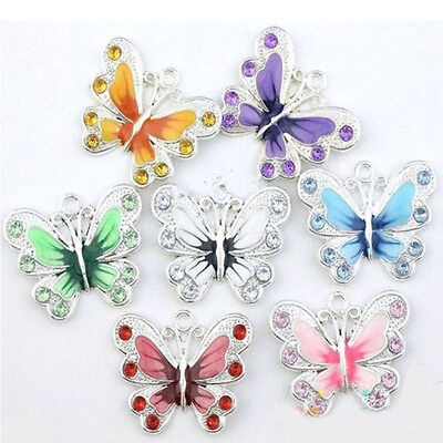 5/20/50X Charm Silver Plated Enamel Butterfly Pendant Jewelry Making Craft DIY