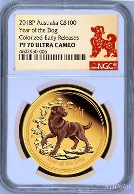 2018 P Australia PROOF Colorized GOLD $100 Lunar Year DOG NGC PF70 1 oz Coin