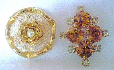Lot of 2 vintage brooches  1 with large Amber color RS & 1 rose with faux pearl