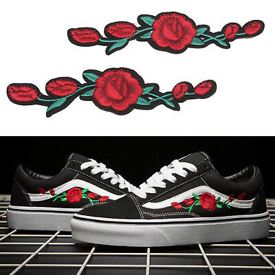 2x Embroidery Rose Flower Sew On Patch Badge Shoes Applique Craft