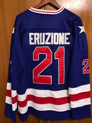 1980 Miracle On Ice Team USA Mike Eruzione 21 Hockey Jersey Blue All  stitched fa1a1ecbd
