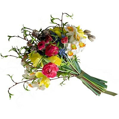 Artificial Yellow Pink Daffodil Narcissus Hyacinth Flower Arrangement Plant