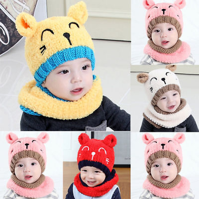 US Stock Toddler Kids Girl&Boy Infant Winter Warm Crochet Knit Hat Beanie Cap
