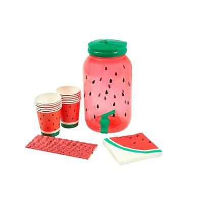 NEW Sunnylife Drink Dispenser Party Kit - Watermelon - Includes cups, straws ++