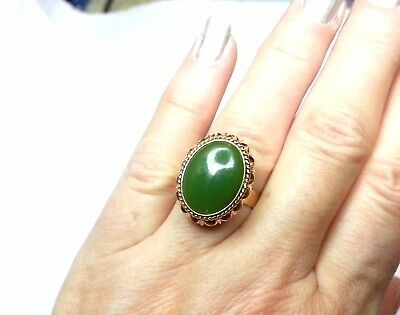Vintage 14k Yellow Gold Filigree Oval Cabochon Jade Ring Size 6.75