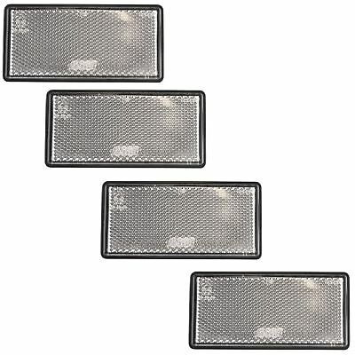 White Large / Clear Reflector 4 Pack Trailer Fence Gate Post Self-Adhesive TR21