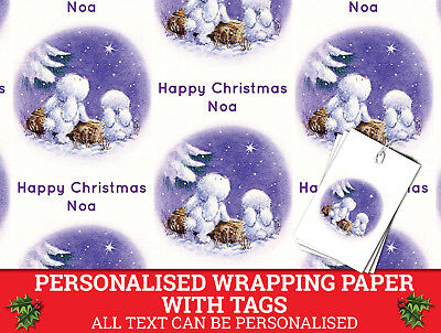 Personalised Christmas Wrap- Xmas Wrapping Paper Bunnies in the snow