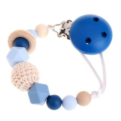 Baby Silicone Teething Dummy Pacifier Clip Bead Infant Soother Nipple Chain