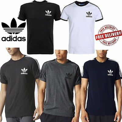 adidas Mens Original California T-Shirts Trefoil Logo Sports 3 Stripes Top Tees