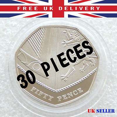 30Pcs Holder Container Round Coin Capsule For Decimal 50p Fifty Pence BOX 28mm