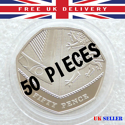 50 pieces Round Coin Capsule 28mm for 50p Fifty pence or £2 Pound Collector BOX