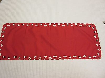 Red Christmas Holiday Table Runner w/Holly Cut Outs Along Edge ~35x13.5""