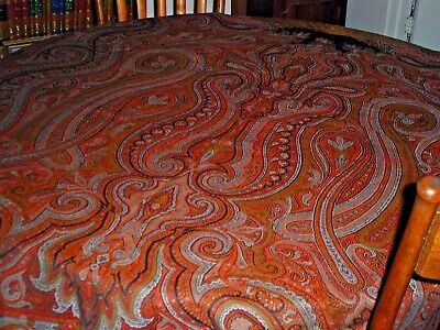 Antique Paisley Shawl Kashmir, Very Large-5'X10'~Deep Red 19th Cent. Black Cent