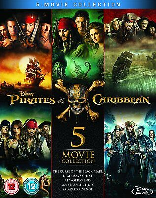 Pirates of the Caribbean 1-5 Five Movie Collection Blu-Ray Set NEW Free Ship
