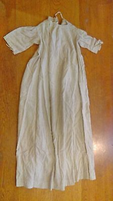 c1920 vintage baby gown, christening gown,  off white and black pattern w/ lace