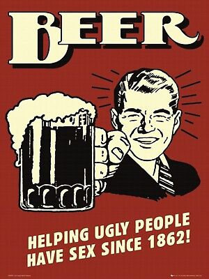 "Beer Helping Ungle People Have Retro Vintage Funny Metal Tin Sign 9""x12"""