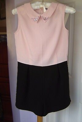 Girls Smart Pink And Black Playsuit By New Look Age 12 Years