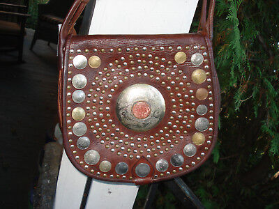 vintage Moroccan coin on leather cross body/ shoulder bag, large