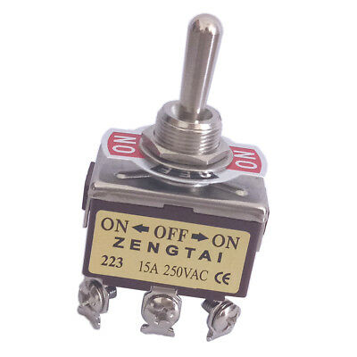 Toggle Switch, AC 250V 15 Amp, 6 Pin 3PDT 3 Way On/Off/On Momentary