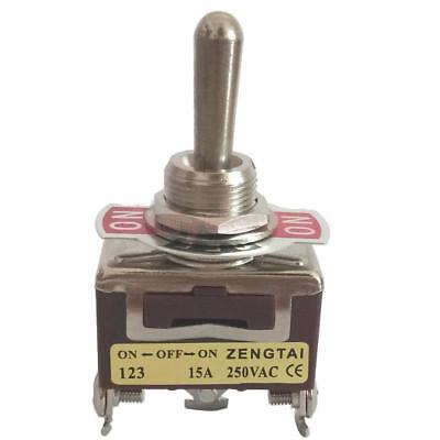 Toggle Switch, AC 250V 15 Amp, 3 Pin SPDT 3 Way On/Off/On Momentary
