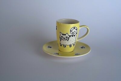 cat coffe cup and plate