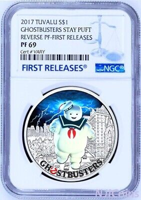 2017 Ghostbusters Stay Puft 1oz Silver $1 Coin NGC REVERSE PF69 Early Releases