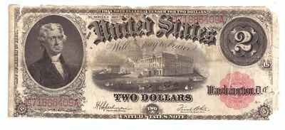1917 US Large Size Red Seal $2 United States Legal Tender Currency Note! C6409