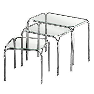 Nest of Tables with Glass Top and Chrome Legs, 39 x 46 x 30 cm - Set of 3