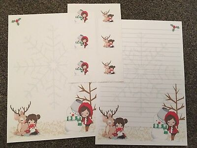 Cute Winter Girls In Snow/Christmas Letter Writing Paper &6 Envelope Seal Set