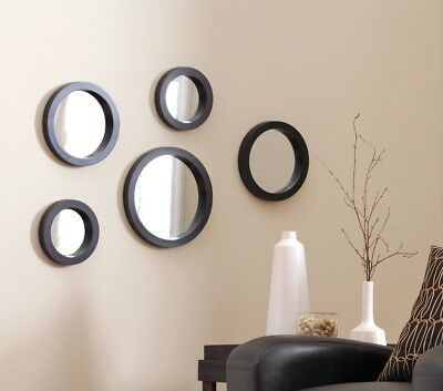 5 Piece Wall Mirror Set Black Home Office Modern Decor Mirrors Art 3 Sizes Round