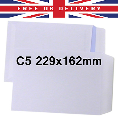 C5/A5 229x162mm White Plain Envelopes 5 10 20 50 100 Folded A4 Self Seal Letter