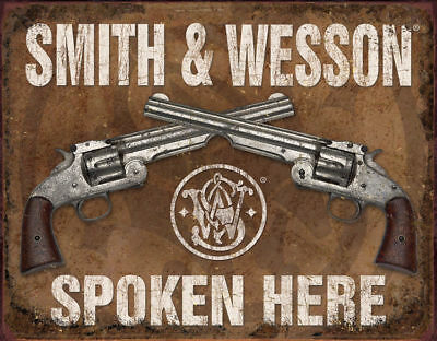 1849 Smith & Wesson Spoken Here Tin Sign