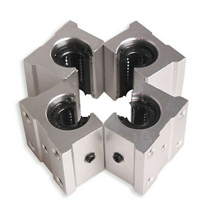 4 x SBR12UU 12mm Aluminum Linear Motion Router Bearing block, silver B4 D4O2