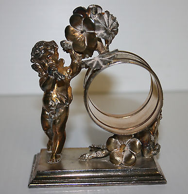 Victorian Silver Plated Napkin Ring Cherub Playing Horn Simpson Hall Miller & Co
