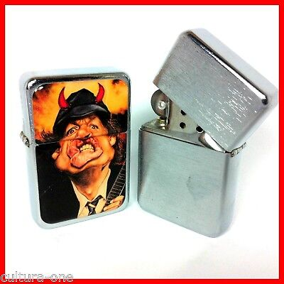 AC/DC ANGUS YOUNG ! BRIQUET TEMPETE A ESSENCE Heavy METAL Rock guitar caricature