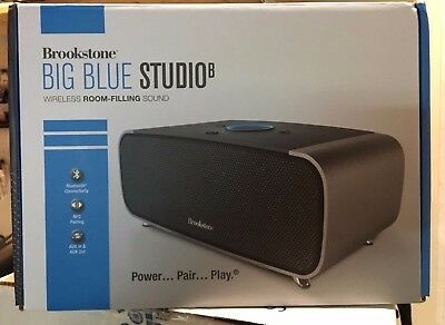 Brookstone Blue Studio B Wireless Bluetooth Speaker New